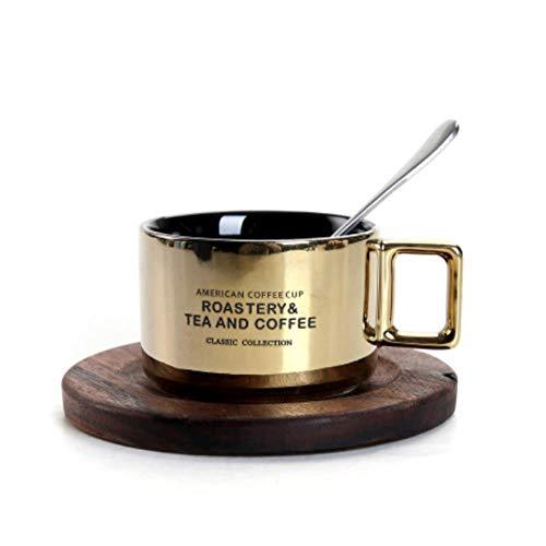 dzzdd Mode Cafe Shop Kaffee Keramik Tasse Untertasse Anzug Nachmittagstee Tasse Kleine Kaffeetasse mit Löffel Set Katzenkot Kaffeetassen-4