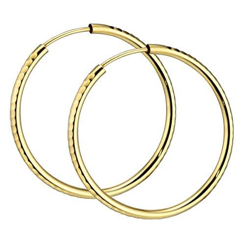 MATERIA Damen Creolen 585 Gold Ohrringe 30mm diamantiert flexibel mit Geschenk-Box Made in Germany #GO-5