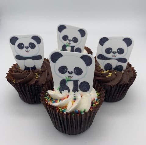 Lot de 12 décorations comestibles pour cupcakes/gâteaux Motif panda