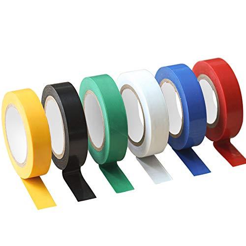 Nastro adesivo isolante, Nastro Elettrico Rotoli di Nastro Isolante in PVC 16 mm nastro isolante colorato in PVC, assortiti 6 colori, lunghezza totale 10mx6