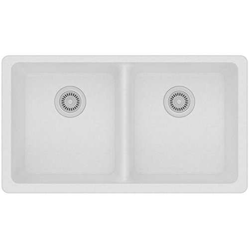Elkay Quartz Classic ELGU3322WH0 Equal Double Bowl Undermount Sink, White
