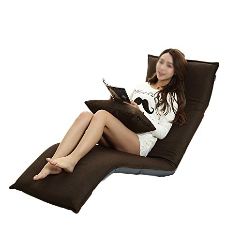 Sofá Lazy Linen Sofa Single Sofa Bed Silla Plegable Lazy Small Sofa Bay Window Chair (Color : Brown)
