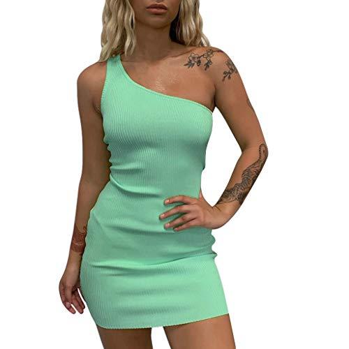 Damen One Shoulder Kleid, LeeMon Casual One Shoulder Side Split Schräg Gestreiftes Shirtkleid Hemdkleid Mit Gürtel Partei Abend Cocktail Kurzschluss Minikleid