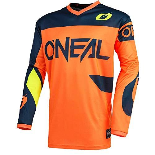O'Neal   Maglia Motocross   Enduro MX   Traspirante, Protezione Imbottita del Gomito, Adatta per la Massima Gamma di Movimento   Maglia Elemento Racewear   Adulto   Arancione Blu   Taglia M