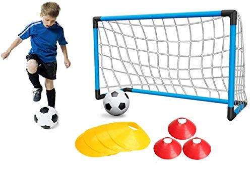 Kidoloop Kids Junior indoor Football Soccer Training Set Goal Post With 10pc Cone and pump Ball, Pump Pegs Kids Children Fun indoor Outdoor Practice Set 92*63*53 cm | Pop up Football Goal Net for Kids