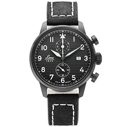 LACO Sondermodell Lausanne Herren Armbanduhr, Fliegeruhr, schwarzes Lederband, Mineralglas, Ø 42 mm, Quarz, inkl. Etui - 861975