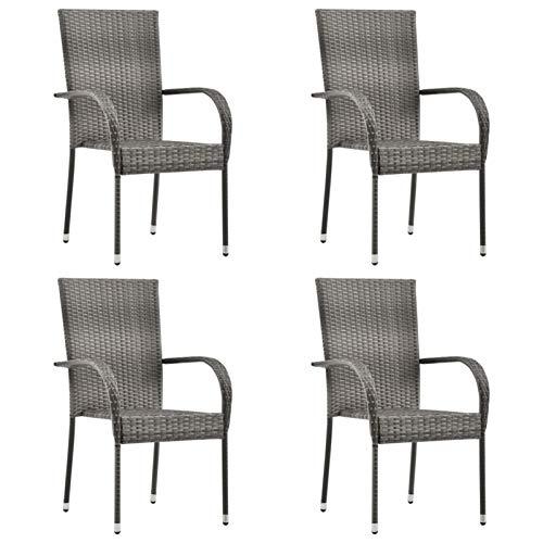 Qnotici Sedie da Giardino impilabili 4 Pezzi. Sedia da terrazza con Schienale Alto, Resistente alle intemperie, Sedia da Balcone, sedie impilabili, poltrone, polyrattan Grigio