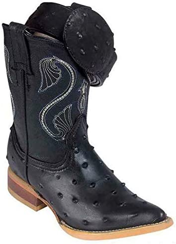 Kids Ostrich Print Cowboy Boots Handcrafted With Free Matching Belt