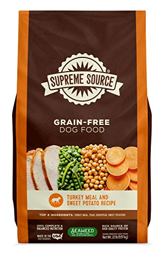 Supreme Source Premium Dry Dog Food Grain Free, USDA Organic Seaweed, Protein, Turkey Meal & Sweet Potato Recipe for All Life Stages. Made in The USA. (22lb)