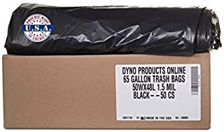 Dyno Products Online-65 Gallon Black 1.5 Mil, (50/case) Heavy Duty, Trash Bag