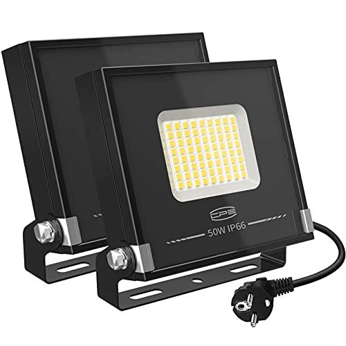 CP3 50W LED Strahler Außen 2 Stücke,LED Fluter Superhell 4000LM,IP66 Wasserdicht Außenstrahler mit Stecker,5000K Natürliches Weiß LED Flutlicht für Garten Sportplatz Garage