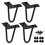 4 inch / 10cm Hairpin Table Legs, La Vane 4PCS Mid-Century Modern DIY Metal Furniture Legs with Floor Protectors & Screws for Coffee and End Table Cabinet TV Stand