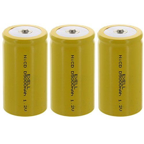 3x Exell D Size 1.2V 5000mAh NiCD Button Top Rechargeable Batteries for meters, radios, hybrid automobiles, high power static applications (Telecoms, UPS and Smart grid), radio controlled devices