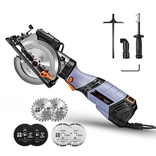 Mini Scie Circulaire, 750W, 6 Vitesses, 125mm & 115mm pour 6 lames, Manche en Métal, Guide Laser, Profondeur de Coupe de 48mm (90 °) & 34.9mm (45 °)