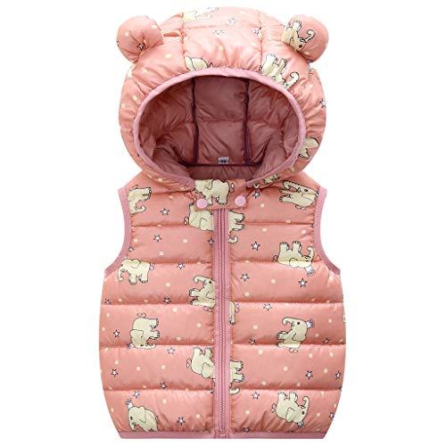 Bebé Chaleco de Abajo Infantil Chaleco de Plumas Invierno Encapuchado Chaquetas Acolchado Ligero sin Mangas Abrigo, 12-24 Meses, 90 CM