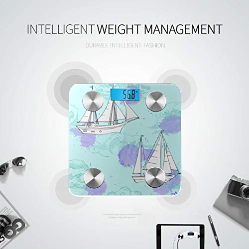 Cartoon Waves and Ships Smart Scale Best Rated Bathroom Scales Most Accurate Bathroom Scale Tracks 8 Key Compositions Analyzer Sync with Fitness Apps 400 Lbs