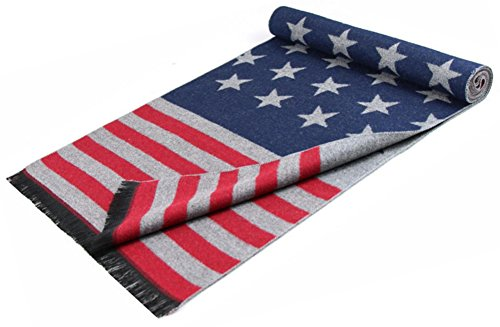 USA Flag Men's Winter Warm Wool Knitted Scarf,18030 cm