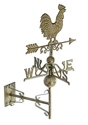 aubaho Nostalgie Wand Wetterhahn Hahn Garten Dekoration Windrad Eisen Wetterfahne Grün