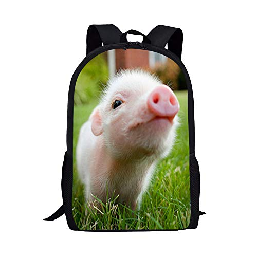 Pig Backpack for Elementary School Kids Girls Bookbags Personalized without Name Tags