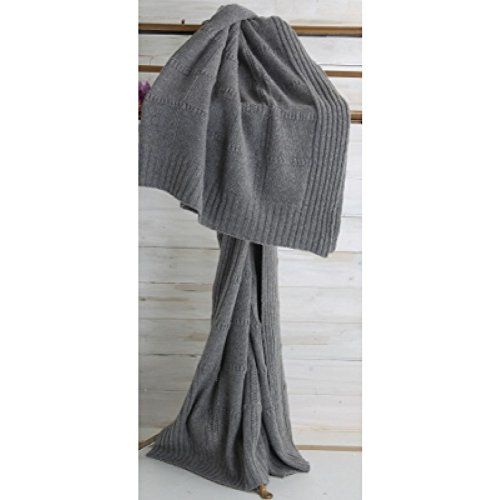 Great Features Of Winter Knitted Blanket With Checked Pure Cashmere Extrafine Loris - Grey - King Si...