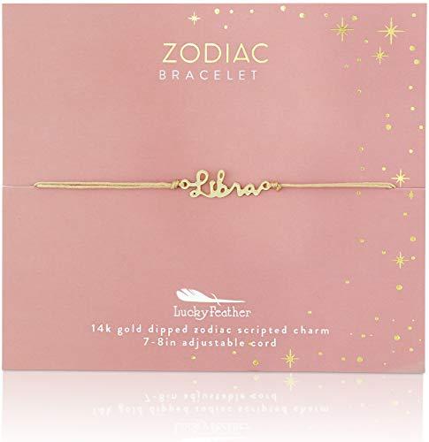 Lucky Feather Zodiac Bracelet - 14K Gold-Dipped Zodiac Constellation...