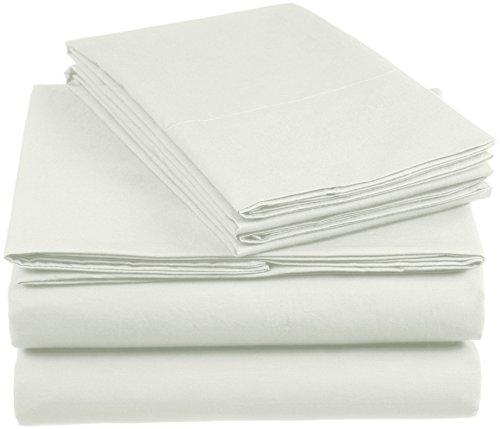 Amazon Basics AB 200TC Cotton - Light, 100% Algodón, Verde, 260 x 240 cm & 2 Fundas 65 x 65 cm