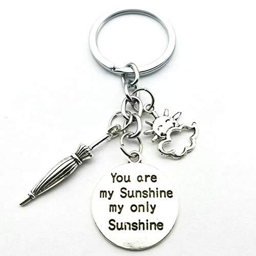 N/ A Du bist Mein Sonnenschein Mijn enige Sonnenschein sleutelhanger, paraplu zon sleutelhanger heren en dames mode DIY handgemaakt