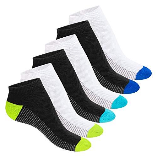 Footstar Damen und Herren Fitness Sneaker Socken (6 Paar) - Schwarz-Weiß-Mix 39-42