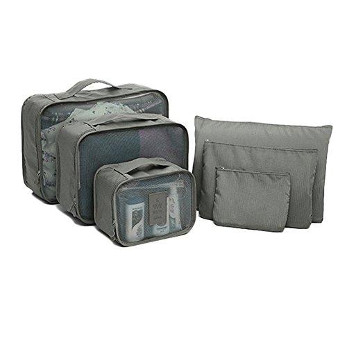 DELEY Voyage Kit Stockage De Vêtements Cosmétique Maquillage Toilette Sac Wash Bag Définir Gris