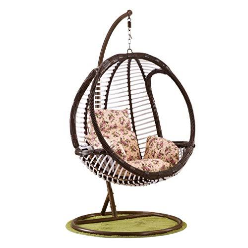 Hmvlw Sedia sospesa Giardino Balcone Vaso Appeso, Altalena Indoor e Outdoor Rattan Hanging Forma di Egg Chair Sedia a Dondolo (Color : A)