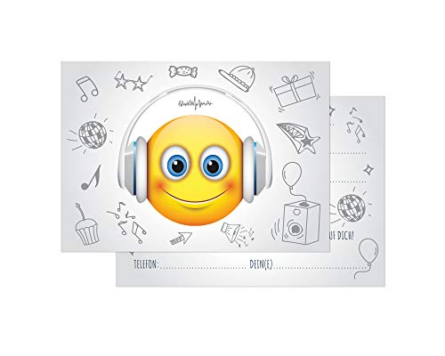 Friendly Fox Einladung DJ Smiley - 12 Einladungskarten Geburtstag Kinder Jungen Mädchen - Einladung Kindergeburtstag - Geburtstagskarte Emoji