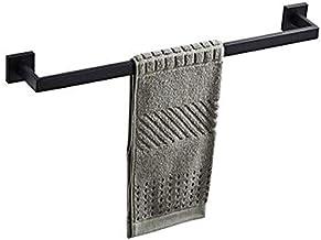 WHLONG Toiletpapierhouder Badkamer Handdoek Bar Handdoek Ring Gewaadhaak, Zwart Wandgemonteerd Bad 304 Roestvrij staal Gee...