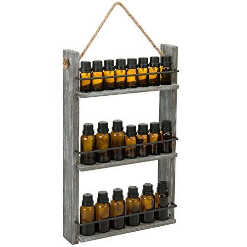 MyGift Wall Mounted Ladder Shelf Distressed Brown Wood & Black Metal Essential Oil/Nail Polish Bottle Holder Display Shelves with Rustic Rope