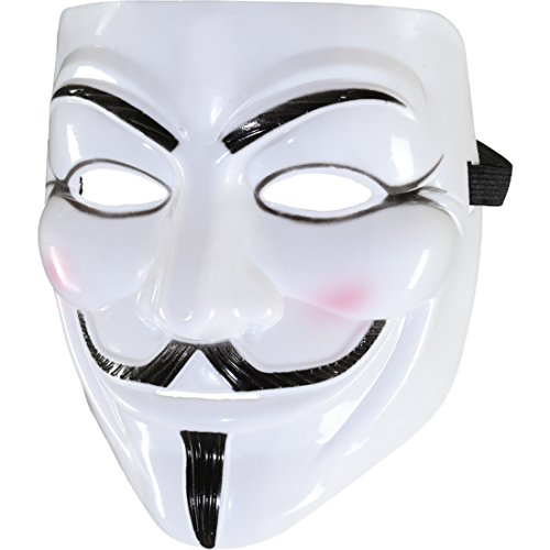 Amakando Guy Fawkes Filmmaske Revolution Halloweenmaske Anonymous Faschingsmaske V wie Vendetta Maske Karnevalskostüme Accessoires Anti Akta Demo Occupy Karnevalsmaske Replika Demo Anti Mask