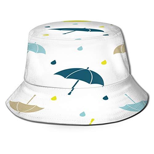fudin Sombrero de Pescador Unisex Patrón Transparente Vector con Paraguas Colores Lluvia Plegable...