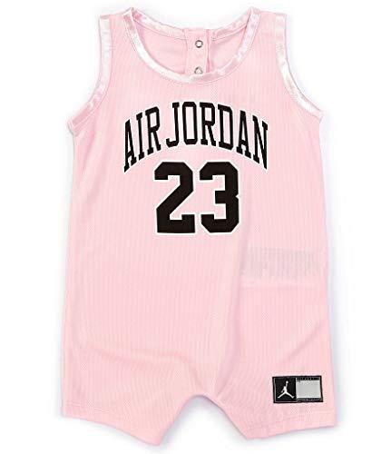 Jordan Baby Girls Mesh Jersey Romper (Pink Foam(556169-A9Y)/Black, 18 Months)
