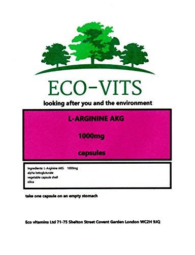 ECO-VITS L-ARGININE AKG (1000MG) 30 CAPS. Biodegradable Packaging. Sealed Pouch