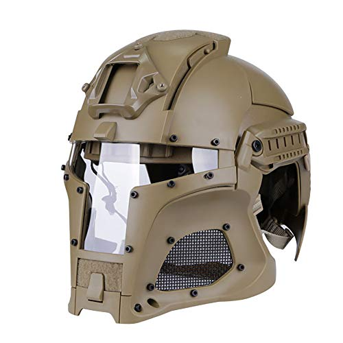 Carbon Fiber Fahrradhelm Taktische Outdoor Retro Maske Military Fan Special Forces CS,Brown-XXL