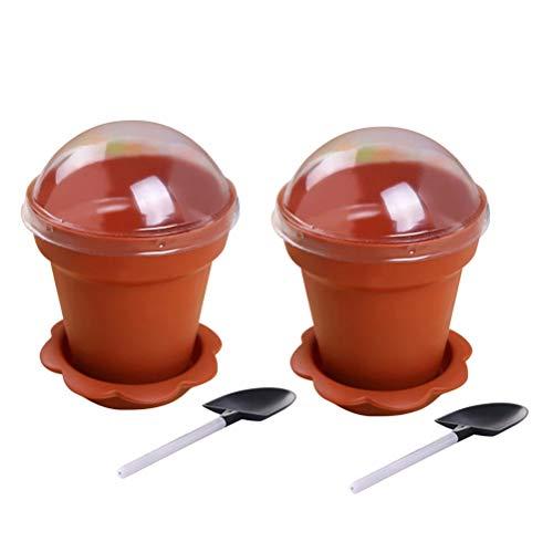 UWEL 10 tazas de plástico para tartas con forma de maceta de flores, bandeja inferior de yogur, taza de gelatina, recipiente para servir con tapa, cuchara para helado y chocolate, mousse pudín