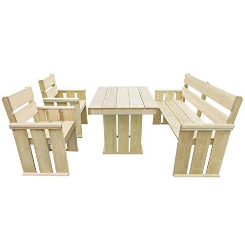 Tidyard Gartenmöbel 4-TLG. Holz Sitzgruppe Gartengarnitur Gartenbank Gartentisch Essgruppe Tisch Bänke + 2 Stühle Kiefer Imprägniert