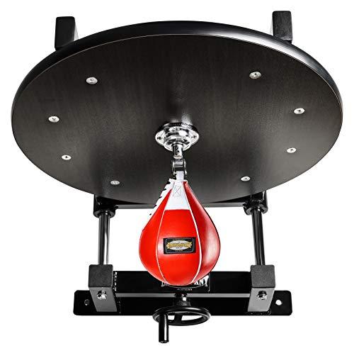 Deluxe Speedball Plattform Set inkl. Drehkugellagerung schwarz und Leder Boxbirne medium rot/Boxapparat für die Wandmontage BCA-38