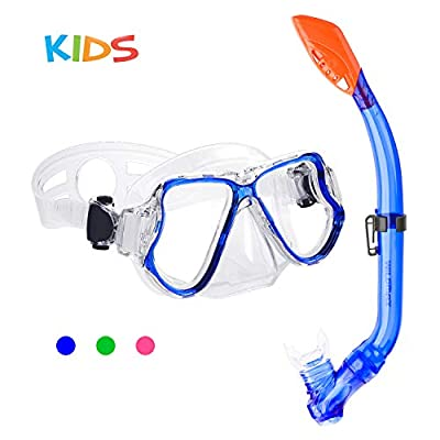 CASA MALL Kids Snorkel Set, Dry Top Snorkel Mask Snorkeling Gear Anti-Fog Anti-Leak Scuba Diving Mask and Snorkel Sets for Children, Boys, Girls, Youth, Junior