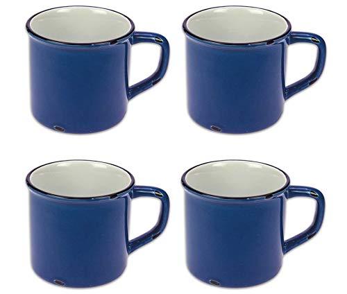 Tony Brown Kaffeebecher Emaille-Optik Tassen Becher Kaffeetasse Teetasse Keramiktasse 500ml (Blau, 4er Set)