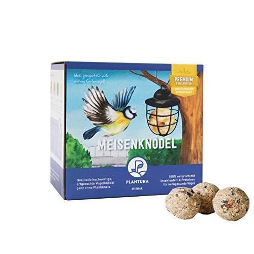 Plantura Meisenknödel mit Insektenfett, ohne Netz, Wildvogelfutter, 45 Stück