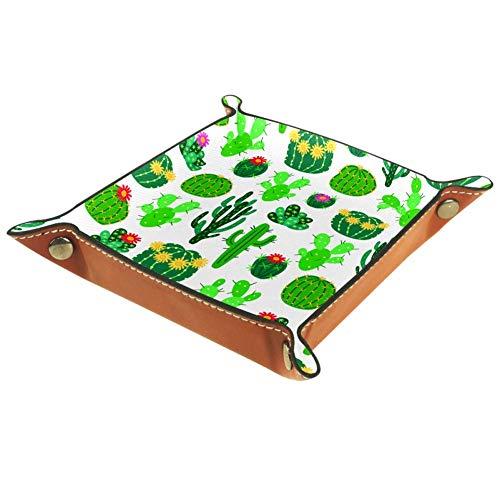 Caja de escritorio de cuero sintético plegable de la caja de dados bandeja de rodar plegable para juegos de mesa Blooming Cactus