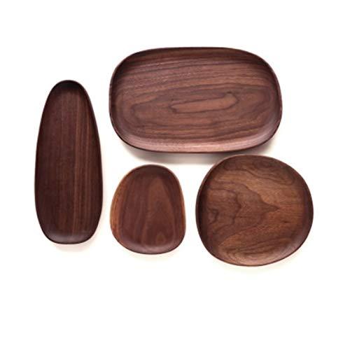 Intero Legno di acacia irregolare ovale piatto di frutta piastra pan piattino tè dessert vassoio vassoio stoviglie set (Color : E)