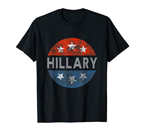 HILLARY CLINTON 2020 T shirt Red White Blue Vintage Button T-Shirt