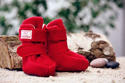 PICKAPOOH warme Baby Puschen Krabbelschuhe aus Bio Wollwalk in rot mit Klettverschluss 0-3 Monate; Schuhgröße 16/18 - 2