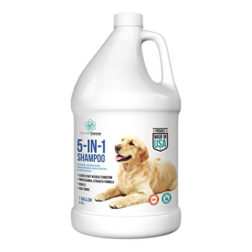 Dog Shampoo, Naturally Derived Dog and Puppy Shampoo and Conditioner, 5 in 1 Formula with Coconut, Aloe and Oatmeal, Tear Free Dog Shampoo for Sensitive Skin, Made in The USA (1 Gallon)
