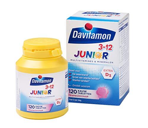 Davitamon Junior 3+ kauwvitamines - Multivitamine kind - framboossmaak - 120 tabletten